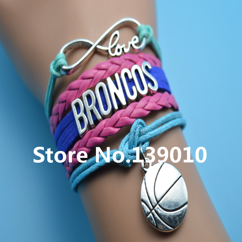 Infinity Love Broncos Basketball AFC Team Bracelet Red Blue Grean Leather Rope Cuff Customize NCAA Sports Wristband Charm Bangle(China (Mainland))