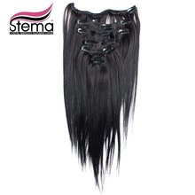 Free Shipping 100g 7pcs/set High Temperature Fiber Clip in Hair Extensions Straight Hair Extension Clip In Remy Hair Extensions(China (Mainland))