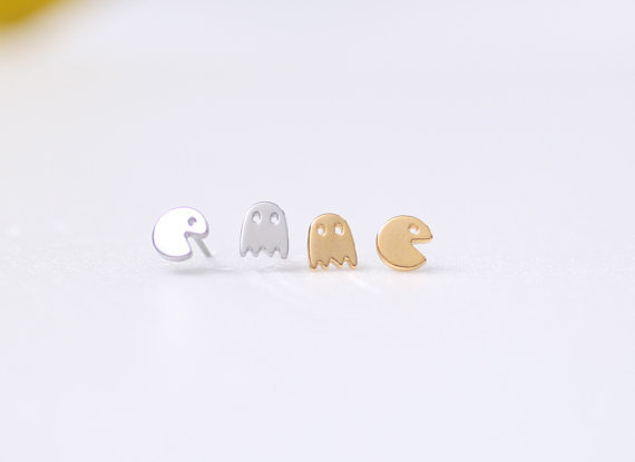Korean cute earrings tiny surgical steel pacman or pac man post earrings. Pacman stud earrings for women(China (Mainland))