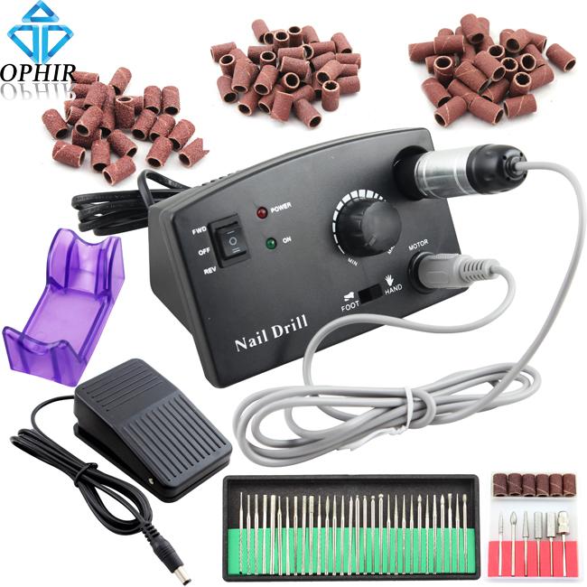 OPHIR 30000RPM Nail Drill Machine Kit Pedicure Manicure Nail Tools Drill Bits Sanding Bands Nail Art Kit #KD146WU+163+165-167(China (Mainland))