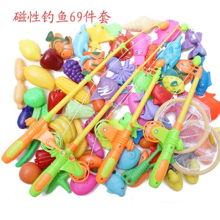 New one big set of 69 pieces magnetic fishing toy outdoor for Fishing toy set
