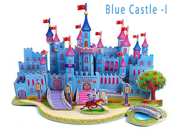 Hot Selling Blue Castle 3d Puzzles Kids Educational Toys DIY 3D Puzzle For Children Adults Blue castle Gifts for children(China (Mainland))