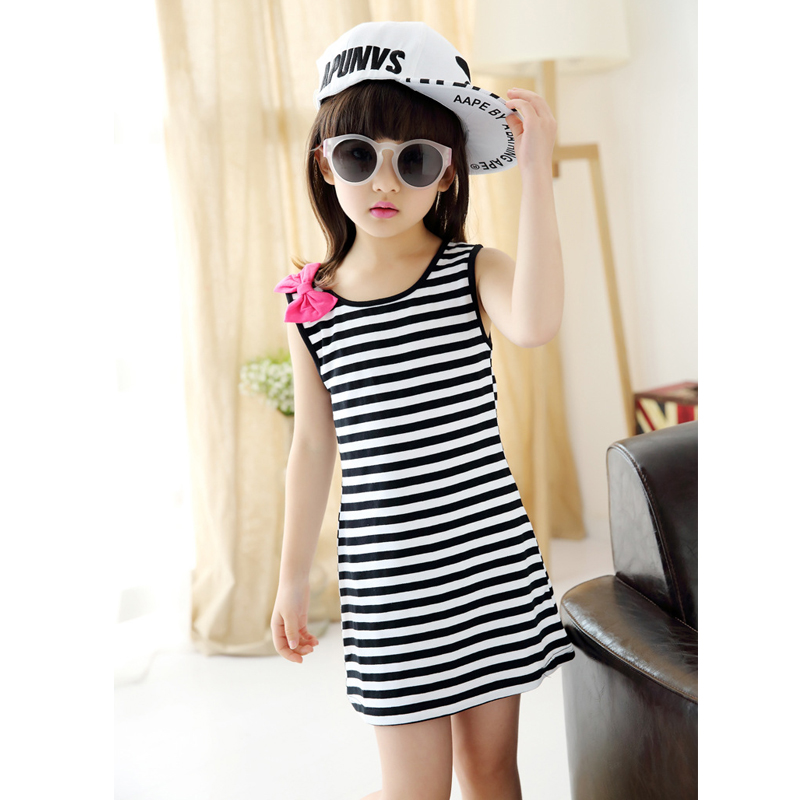 Hot Sale Brand Dresses for Girl Summer Casual Children Clothing Sleeveless Striped Baby Bow O-Neck Kids Vest Fashion Girls Dress(China (Mainland))