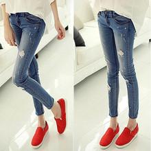 2016 blu durante la vita jeans donna skinny fori jeans per  Donne boyfriend jeans per le donne elastico blu jeans strappati più  Formato(China (Mainland))