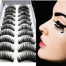 10pairs  false eyelashes pure Handmade deep black eye makeup essential false eyelashes(China (Mainland))