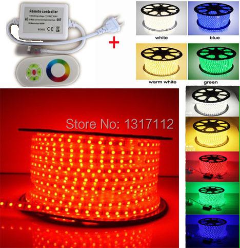 Wholesale 110V To 240V 5050 SMD LED Strip light 5050 60leds/m IP66 Waterproof LED Ribbon RGB (IR 24key controller/ RF dimmer )(China (Mainland))
