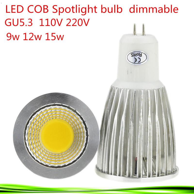 1X Super Bright GU5.3 Bulbs Light Dimmable Warm/Cool White 110V 220V 9W 12W 15W COB LED lamp light led Spot light high lumen(China (Mainland))