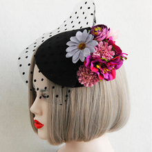 Free ship black polka dot flowers lace medieval hair decoration stage costume accessory