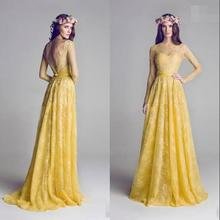 Good Selling 2015 Yellow A Line Lace Appliqued Elegant Backless See Through Custom Made Party Bridesmaid Dresses With Sleeves