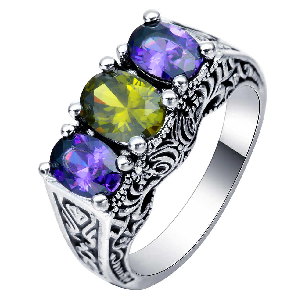 Women Citrine Ring Amethyst Jewelry 10kt White Gold Filled Wedding Rings Yuzuk Anello Donna Bijoux Bague Femme Anillos R25(China (Mainland))