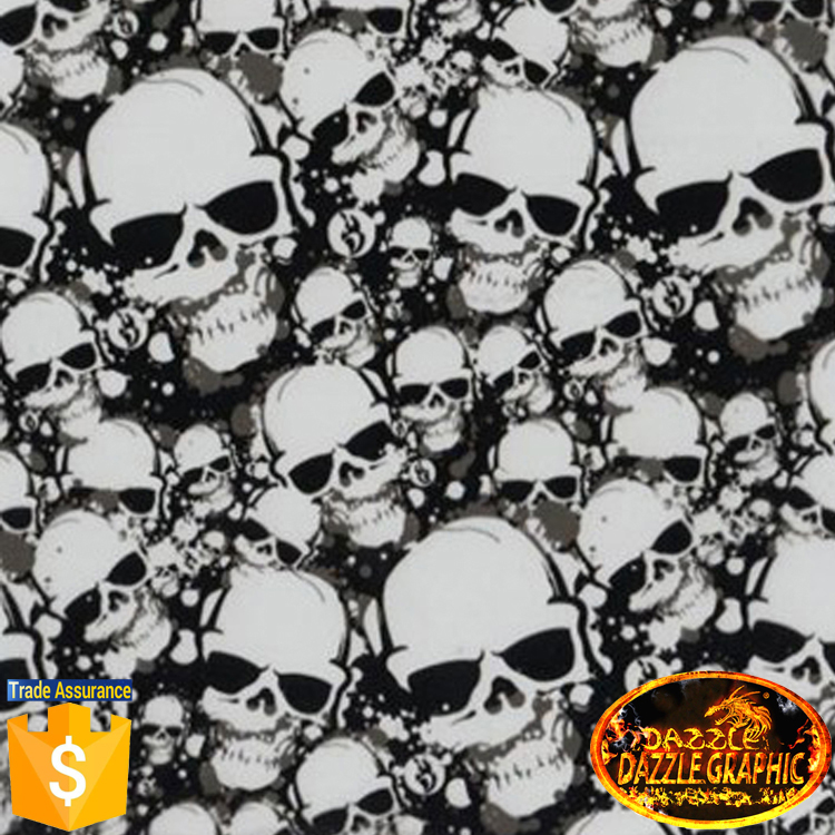 Customer Favorite Dazzle Graphic Manufacturer PVA Film No.DGJJ-574 Width 0.5M Skull Heads Hydrographic Film Water Transfer Film(China (Mainland))