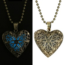 Glowing Necklace Jewelry Glow heart Pendant Charms necklace Glow in the Dark Gifts for Her hollow