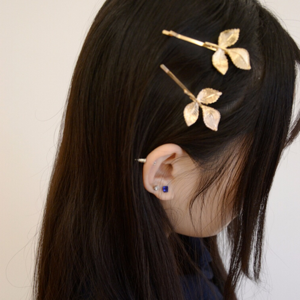 Elegant Europe and America Vintage Side Clip Leaves Hair Pins Hair Accessories Wholesale Women Fashion Hair Jewelry(China (Mainland))