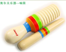 Discount Hot Sale wooden toy Orff instruments DOUBLE tube straight early childhood music 2pcs/set free shipping(China (Mainland))