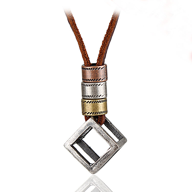 Men Necklace,Vintage collier femme,necklaces & pendants,collares mujer,Jewelry Love Cube Pendant choker Genuine Leather Necklace(China (Mainland))