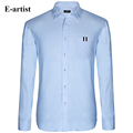 E artist Men s Slim Fit Business Casual Turn down Collar Dress Shirts Male Long Sleeve