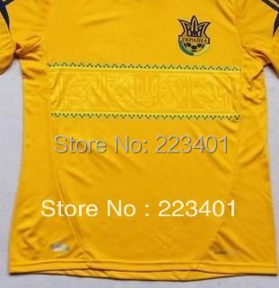 Top Thai quality 12-13 team Ukraine home soccer jersey euro cup 2012 2013 thailand Ukraine football shirt uniform yellow kit set(China (Mainland))