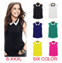 Blusas Femininas 2015 Spring Summer Brand Casual Chiffon Blouse Turn-down Collar Fashion Sleeveless Women Blouses shirts T001(China (Mainland))