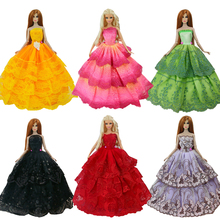 15 Items = 5 Wedding Dress Princess Gown + 5 Pairs Shoes + 5 Pink Hangers Clothes For Barbie Doll Gift Baby Toy(China (Mainland))