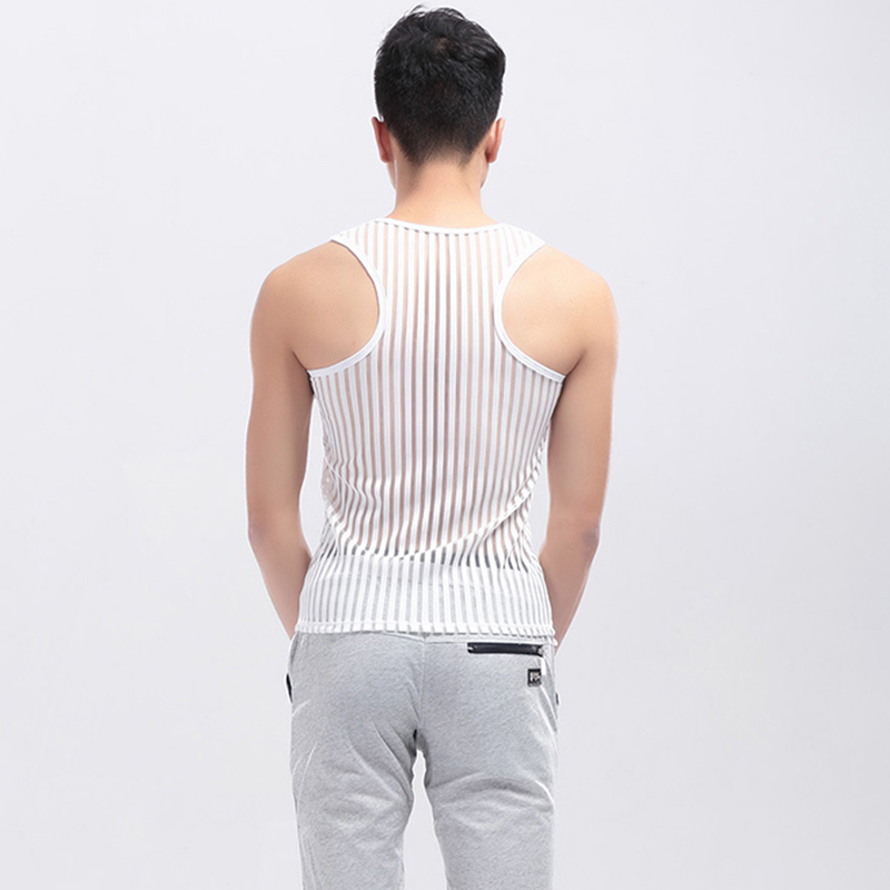 Sexy Men Undershirts 2016 Fashion Mesh Men Vest Sleeveless Sleepwear Black  Men Undershirts Slim Fit Plus Size Tank Tops  bx04-2