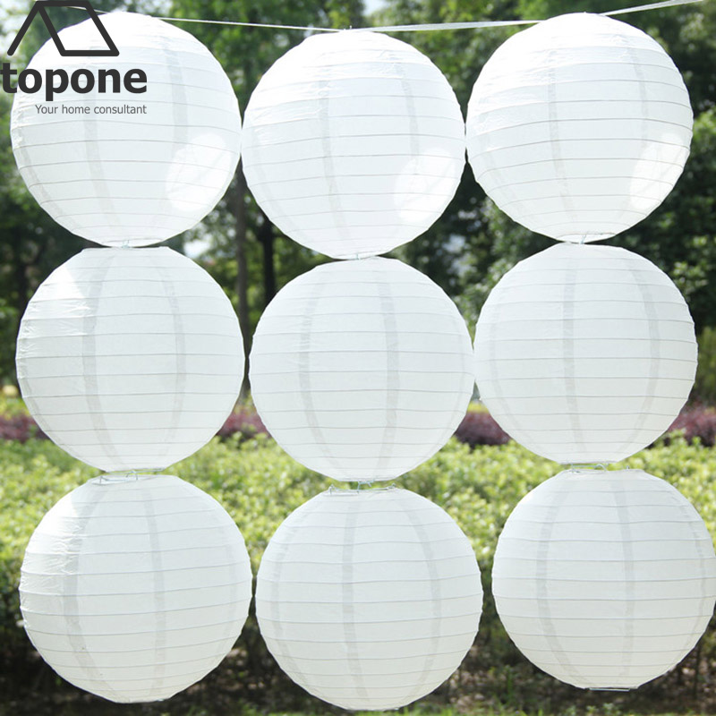 8 inch 20cm Cheap White Round Paper Lantern Chinese Paper Lantern for wedding party decorations Hanging Paper Ball LED Lamp(China (Mainland))