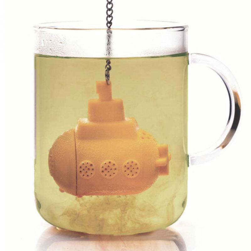 1pc New Silicone Tea Filter Mini Submarine Shape Tea Loose Infuser with a Chain Tea Diffuser Strainer(China (Mainland))