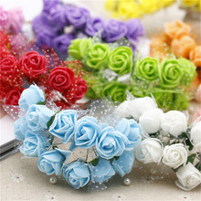 12pcs / lot MIni Valentine Gift Artificial Silk Rose Flower Lace foam for car decoration wedding party Flower holding bouquet(China (Mainland))