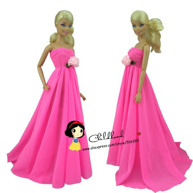 Free delivery 2sets= Rose Pink colour night marriage ceremony gown get together gown for barbie doll + black go well with garments for ken doll