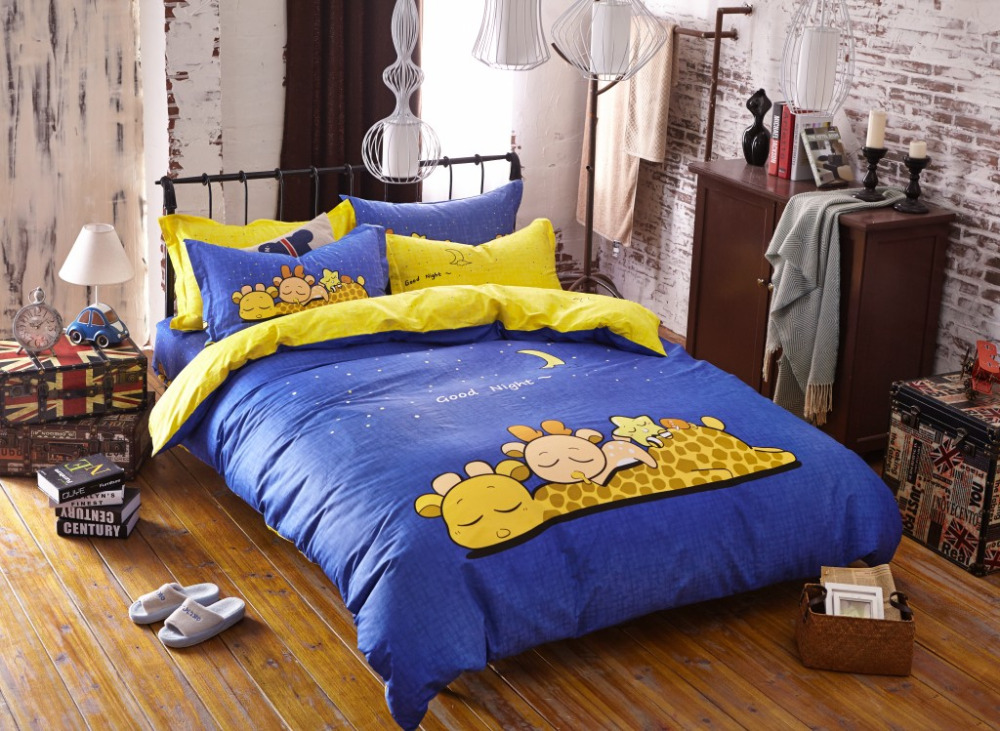 Giraffe animals bed sheets blue and yellow comforter sets - Blue and yellow bedding sets ...