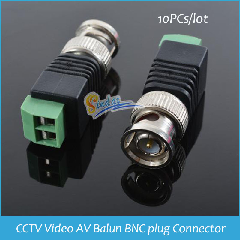 Sindax Video AV Balun BNC plug for CAT5 Camera CCTV Video BNC male AV Balun BNC plug Connector Adapter Coaxial Power 10pcs(China (Mainland))