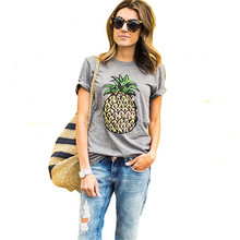 2017 New Fashion Pineapple Printed Gray Women T shirt Summer Plus Size Casual Brand T-shirt Short Sleeve O-neck Tops 61320(China (Mainland))