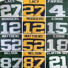 12 Aaron Rodgers shirts jersey 27 Eddie Lacy 87 Jordy Nelson 18 Randall Cobb 52 Clay Matthews stitched jersey(China (Mainland))