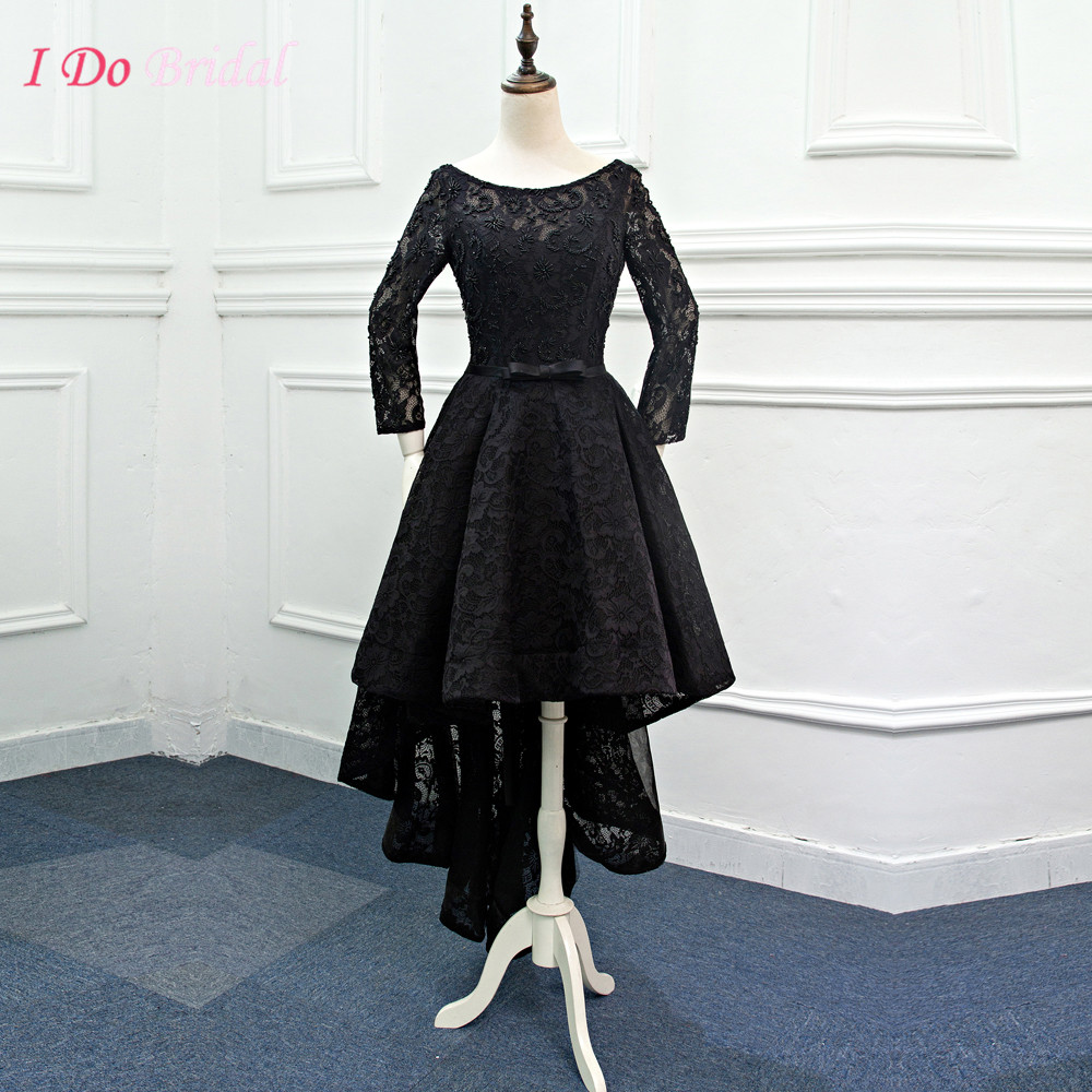 Elegant african black evening dresses short front long for Long sleeve dresses for wedding party