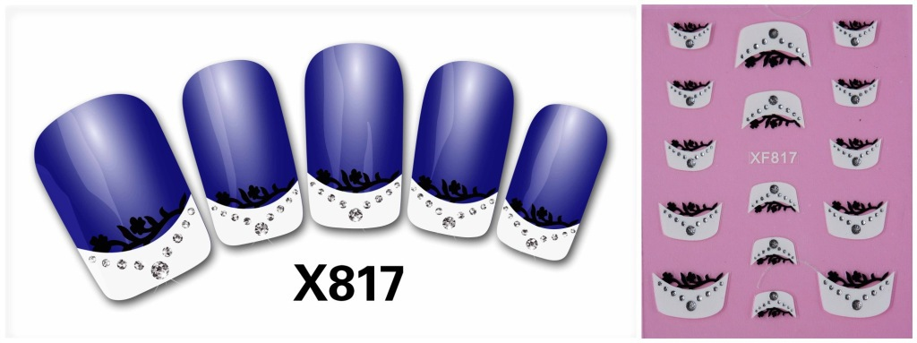 2016 two French 3D nail small floral pattern stickers nail jewelry wholesale XF815