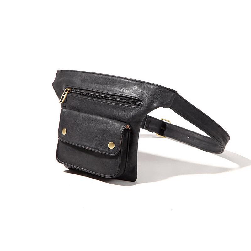 Fashion Women Men PU Leather Waist Bag Solid Lichee Pattern Zipper Waist Packs Messenger Bags For Men(China (Mainland))