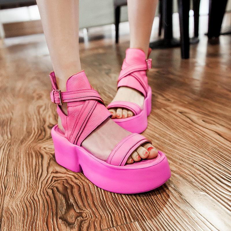 Genuine Leather Summer Sandals Shoes For Women Peep Toe Roman Platform Ladies Sandals Gladiator Female Shoes Sapatos Femme AL270