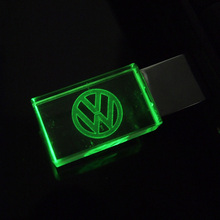 Custom logo crystal LED Pen drive Volkswagen 4GB 8GB 16GB 32GB VW Logo Car USB flash drive 2.0 Memory stick Free LOGO Over 20pcs(China (Mainland))