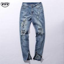 Buy Man Si Tun kanye west Fear god broken hole damaged Distressed ripped lt blue jeans leg zipper Kanye West men denim Pants for $29.39 in AliExpress store