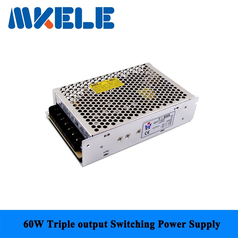Fast delivery nice quality T-60A 5/12/-5v 60w triple output Switching Power Supply for LED Strip Light, Input 110/220VAC(China (Mainland))