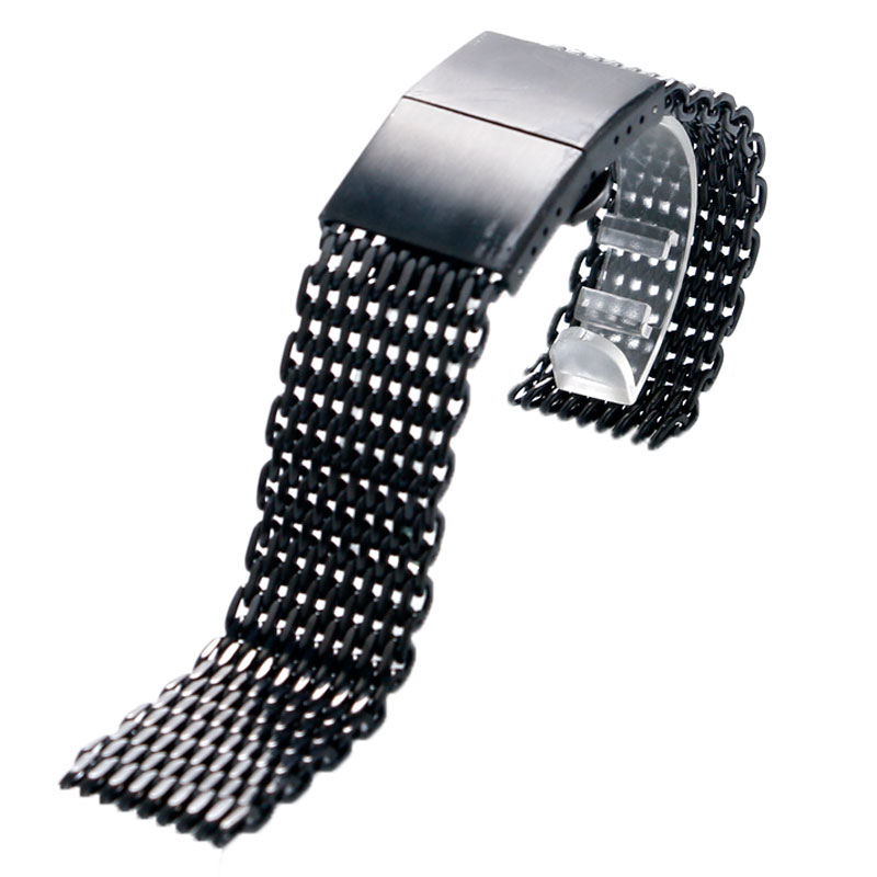22MM Black/Silver Wrist Watch Strap Mesh Stainless Steel Watches Band Men Women Wristwatch Replacement GD0182-3(China (Mainland))