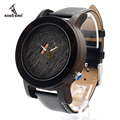 BOBO BIRD K08 Men Wooden Watches Fashion Silver Needle with Leather Band Casual Erkek Ebony Clock