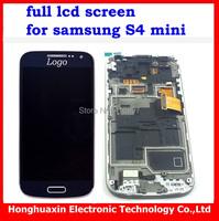 free shipping for samsung galaxy S4 mini I9190 i9195 blue full LCD display screen Assembly+glass touch Screen+tools original