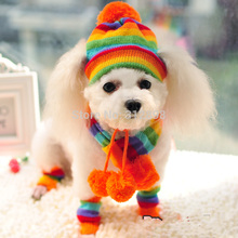 Winter Pet Puppy Accessories For Dogs Pink/Yellow/Rainbow Striped Hat/Scarf/Socks PT045 XXS/XS/S/M/L Chihuahua Cat Products