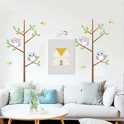 Hot Style 25x70CM Colorful Owls Tree Branch Birds Wall Sticker PVC Vinyl Decal Mural Art Baby Room Decor Promotional Gift(China (Mainland))