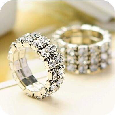 Free Shipping 3 Pcs 2014 Trendy Korean Jewelry Multilayer Rhinestone Sparkling Shiny Elastic Ring For Women Fashion Jewelry(China (Mainland))