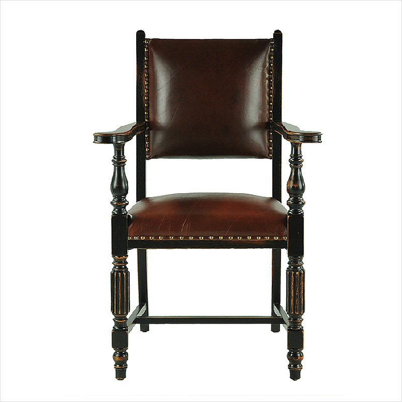 Old shanghai solid wood vintage style furniture armrest chair desk chair leather cushion coffee