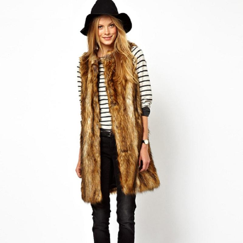 Faux Fur Waistcoat Women long casual winter waistcoats ladies vest SC2041(China (Mainland))