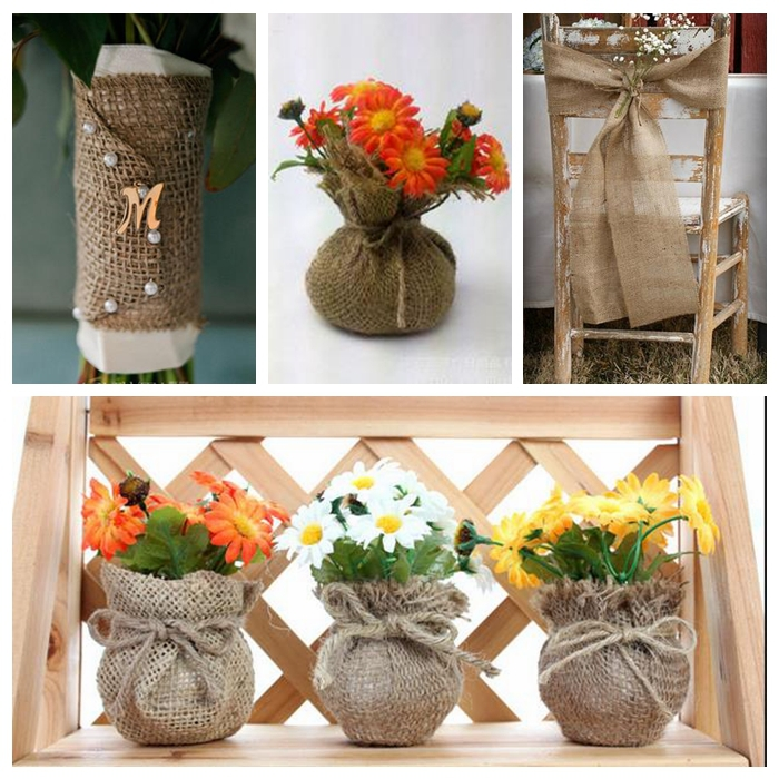 Free Shipping 5cm 10m Natural Jute Hessian Burlap Ribbon Trims Tape Rustic Wedding Decor Burlap