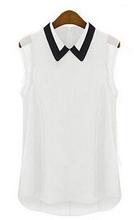 2014 Women Short Sleeve Chiffon Blouse Fashion Casual Sleeveless Patchwork Tulle Blouse Blusa Feminina Manga Curta(China (Mainland))