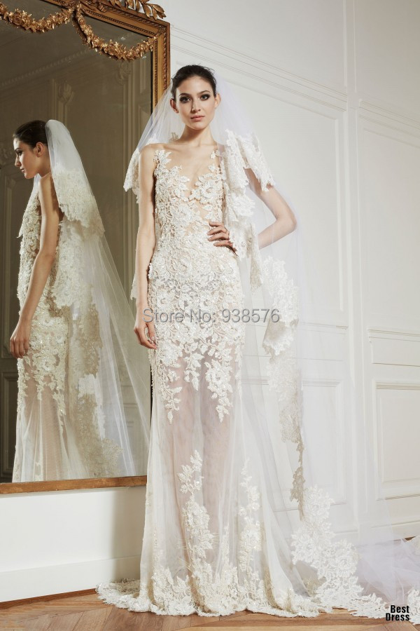Vestido De Noiva Romantic See Through V Neck Long Mermaid Lace Wedding Dresses to Income Bridal Gowns 2015 China Online Store(China (Mainland))